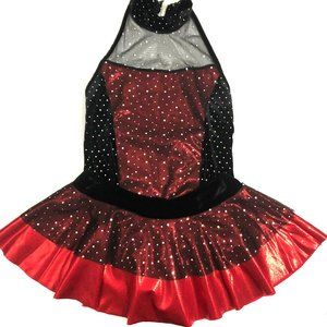 Cicci Red Metallic Black Velvet Mesh Dance Outfit